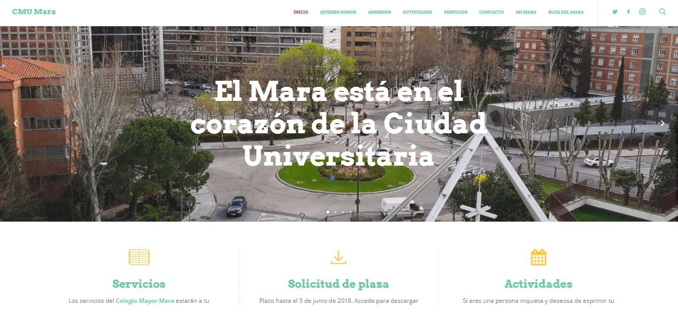 Condiciones legales de la página Web del Colegio Mayor Mara - CMU Mara - Colegio Mayor en Madrid - Colegio Mayor Universitario
