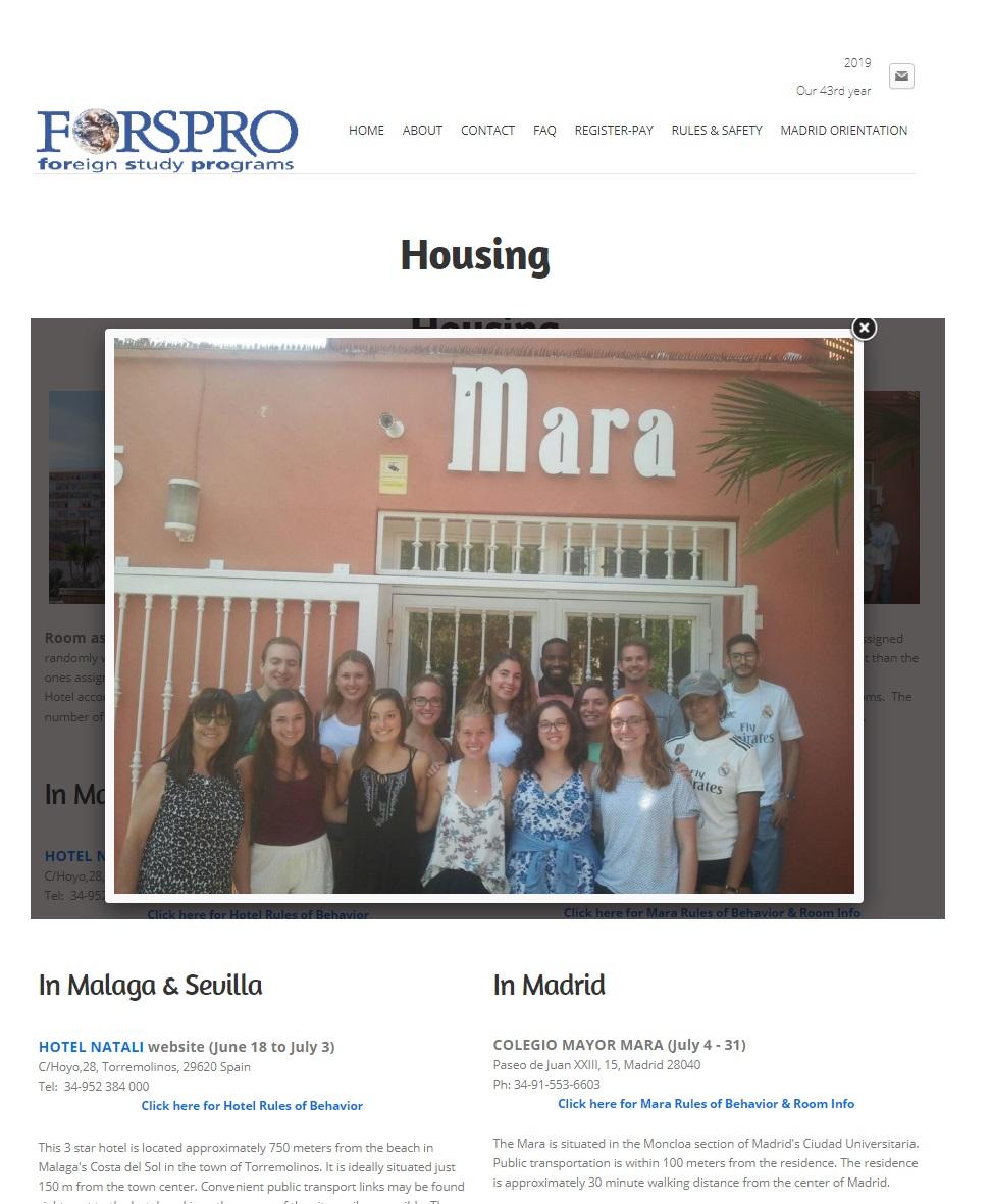 FORSPRO en Madrid - Un año más FORSPRO aloja a sus estudiantes en el Colegio Mayor Mara en su paso por Madrid - Madrid - CMU Mara - Colegio Mayor Mara