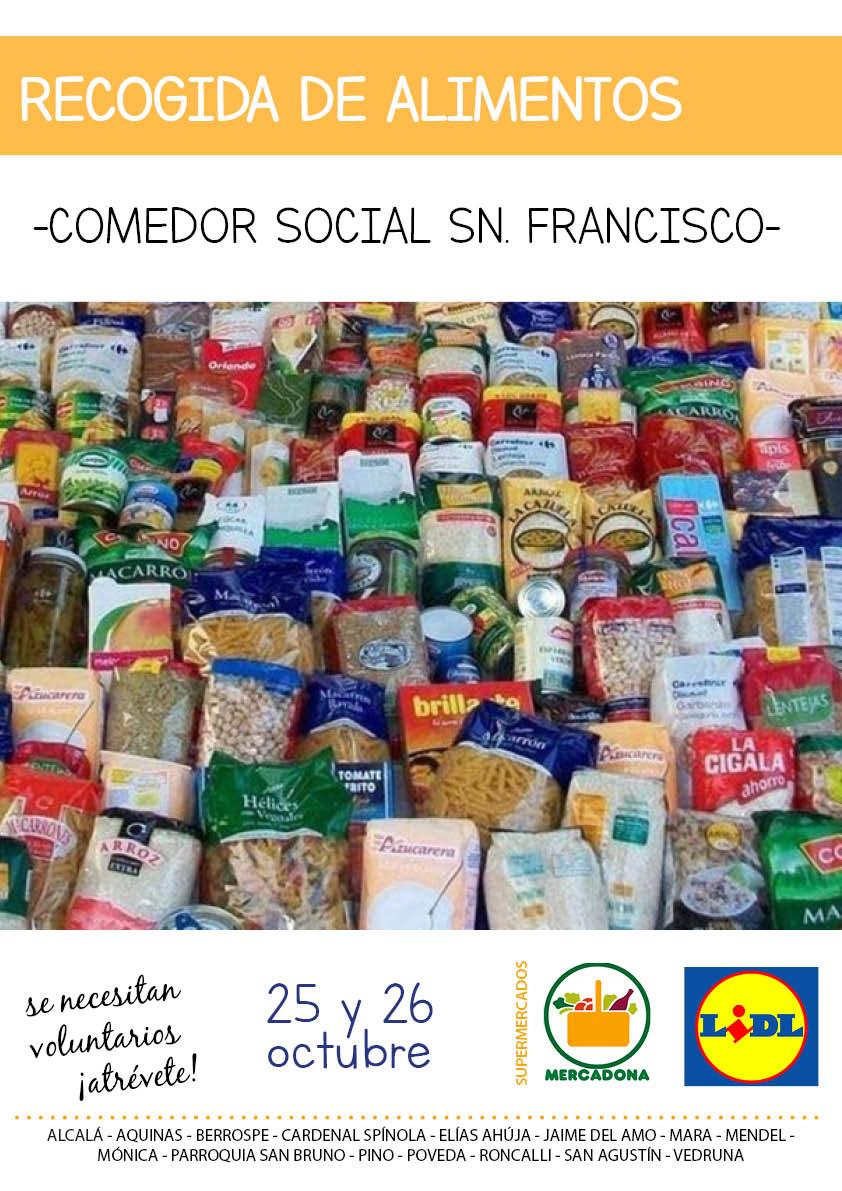 Recogida de alimentos de los Colegios mayores de la Pastoral Conjunta para el Comedor Social San Francisco en la Parroquia de San Bruno con la colaboración de Mercadona y Lidl - CMU Mara - Colegio Mayor en Madrid
